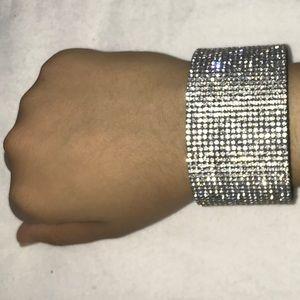 Silver Rhinestone Thick Strap Wrap Around Bracelet